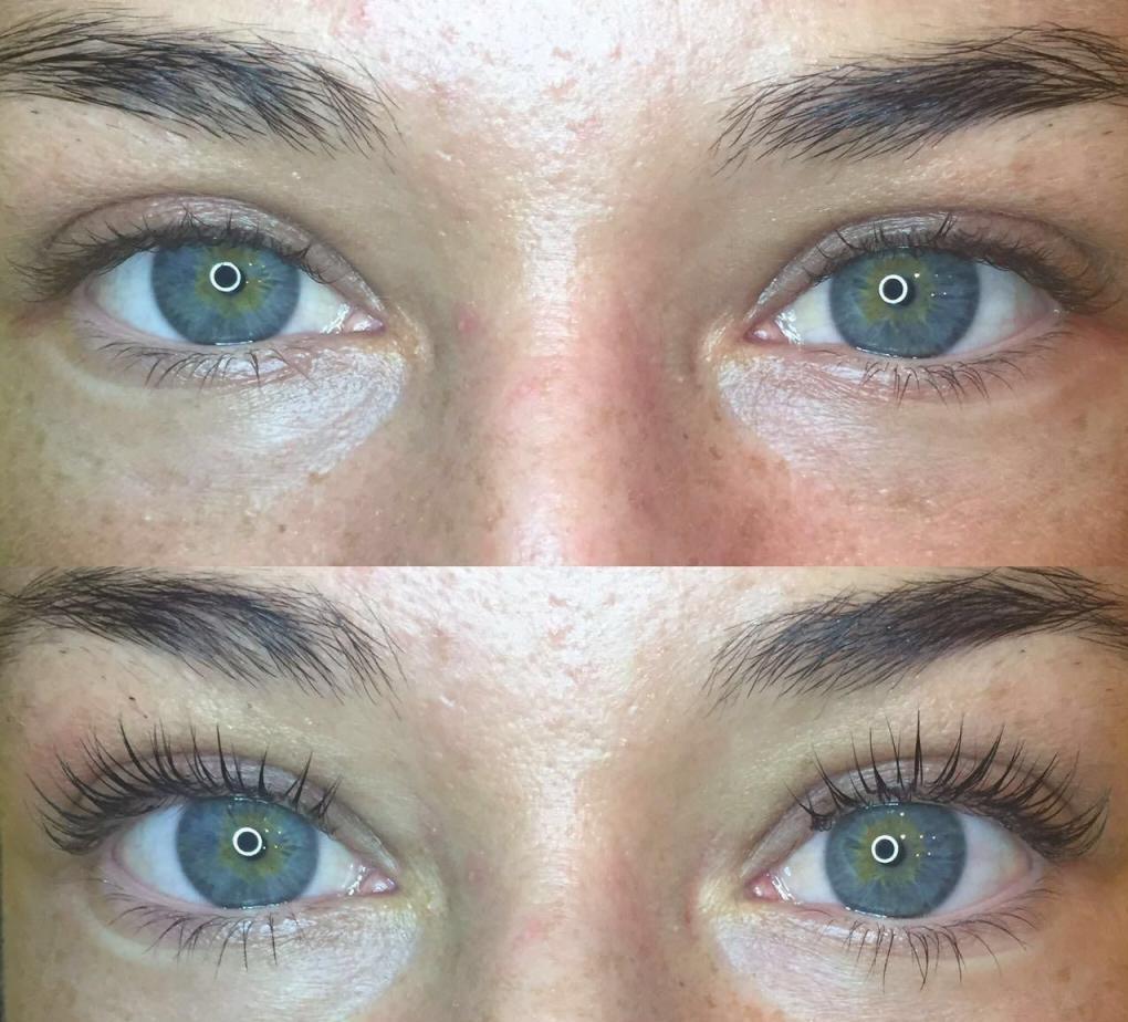 эффект после ламинирования ресниц до и после