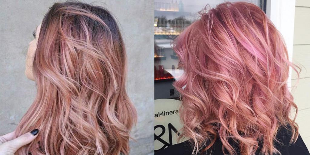 Розовое золото цвет волос - фото