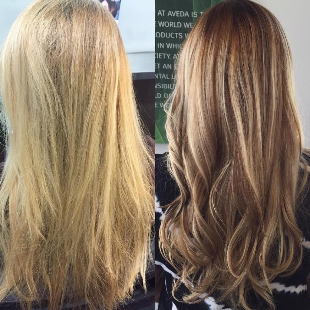 фото волос до и после окраски волос