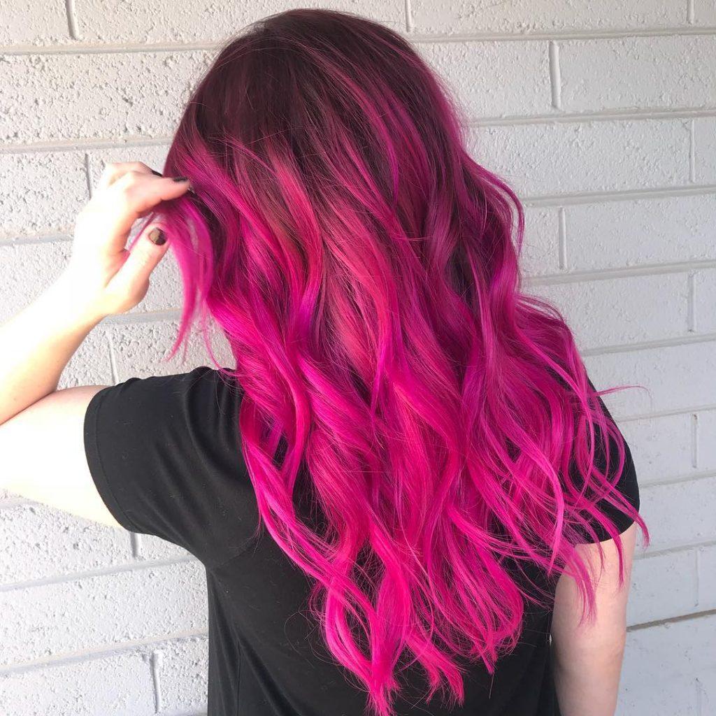 Розовый темный цвет волос - кому идет? Тонирование волос розовым цветом