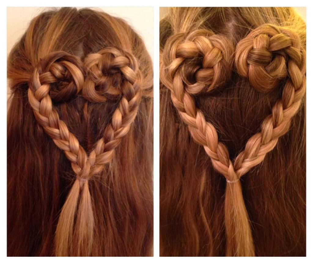 Плетение сердце из волос