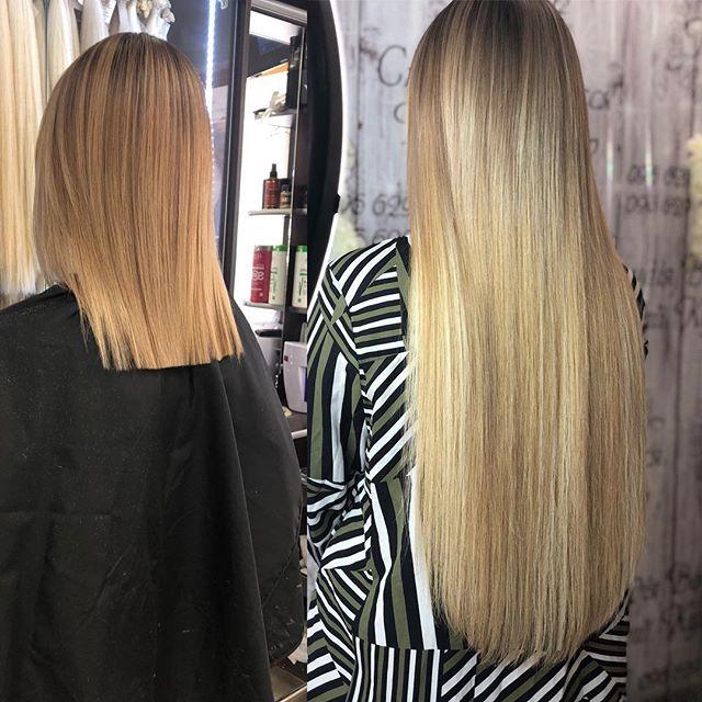 Результат наращивания волос
